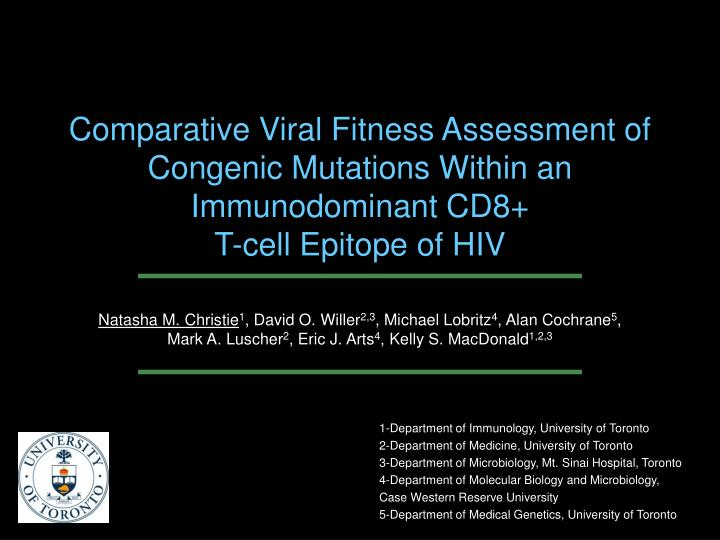 Comparative Viral Fitness Assessment of Congenic Mutations Within an Immunodominant CD8+
