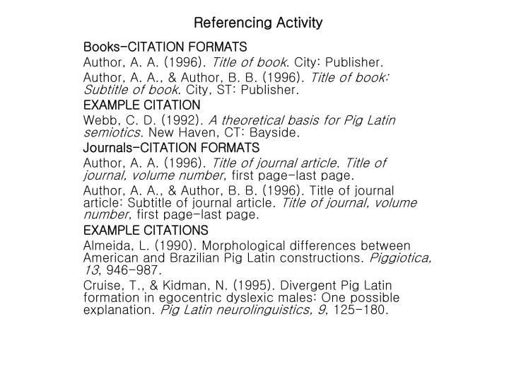 Referencing Activity
