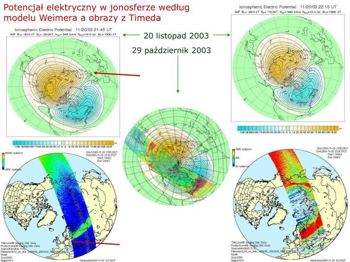 Potencjał elektryczny w jonosferze według modelu Weimera a obrazy z Timeda