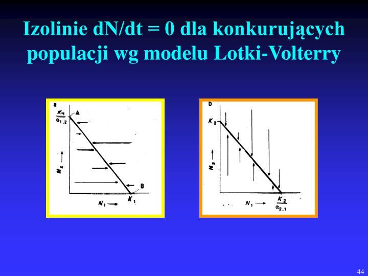 Izolinie dN/dt = 0 dla konkurujących populacji wg modelu Lotki-Volterry