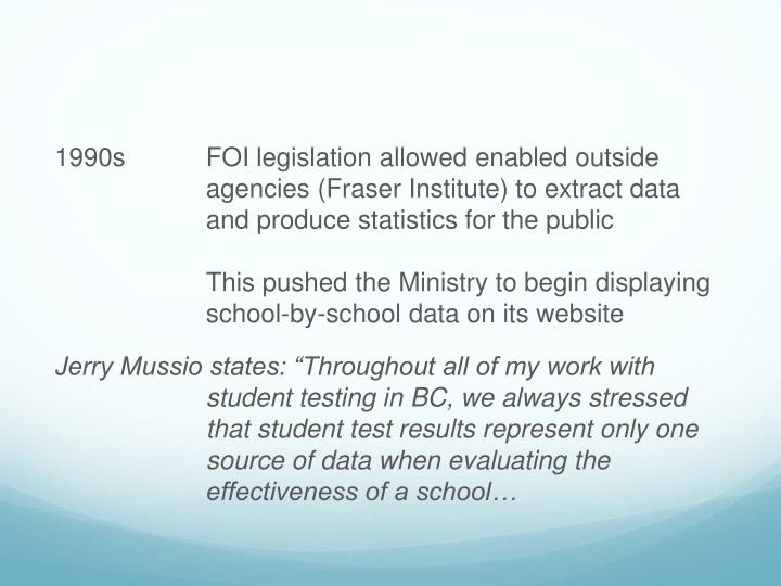 1990sFOI legislation allowed enabled outside agencies (Fraser Institute) to extract data and produce statistics for the public