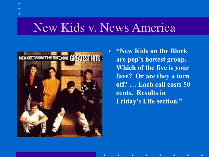 """New Kids on the Block are pop's hottest group. Which of the five is your fave?  Or are they a turn off? … Each call costs 50 cents.  Results in Friday's Life section."""