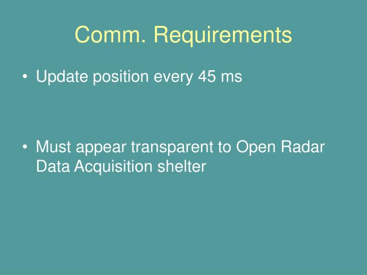 Comm. Requirements