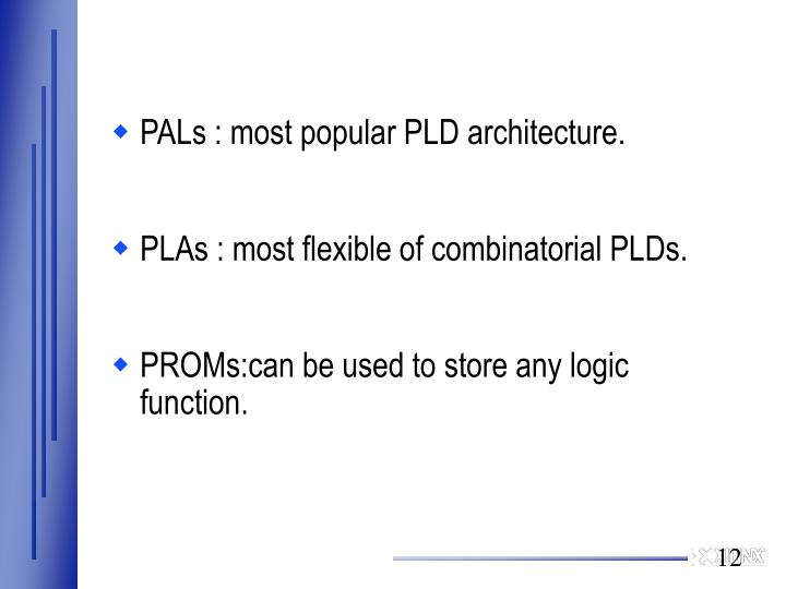 PALs : most popular PLD architecture.