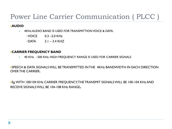 Power Line Carrier Communication ( PLCC )