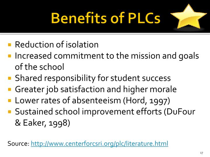 Benefits of PLCs