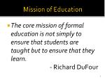 mission of education