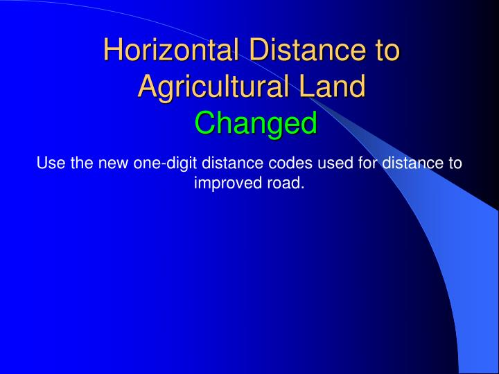 Horizontal Distance to Agricultural Land