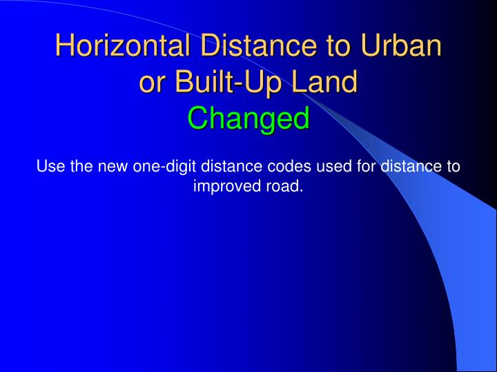 Horizontal Distance to Urban or Built-Up Land