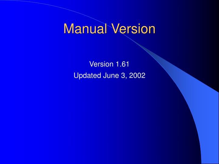 Manual Version