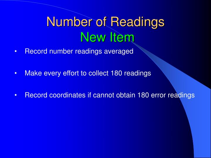 Number of Readings