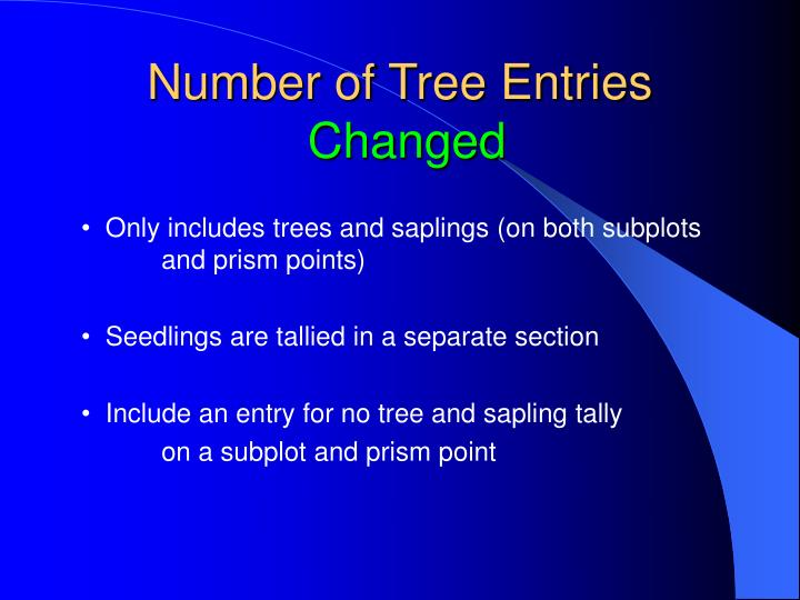 Number of Tree Entries