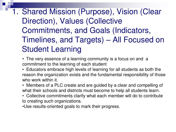 Shared Mission (Purpose), Vision (Clear Direction), Values (Collective Commitments, and Goals (Indicators, Timelines, and Targets) – All Focused on Student Learning