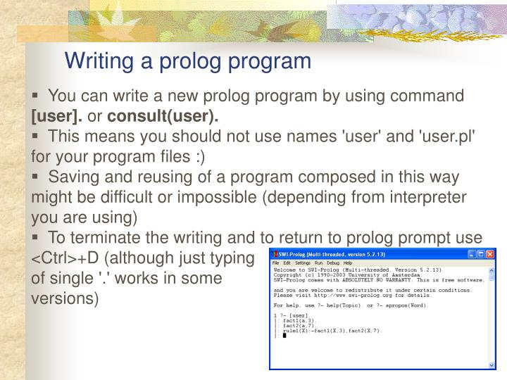 Writing a prolog program