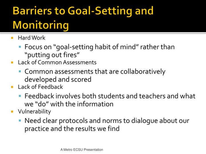 Barriers to Goal-Setting and Monitoring
