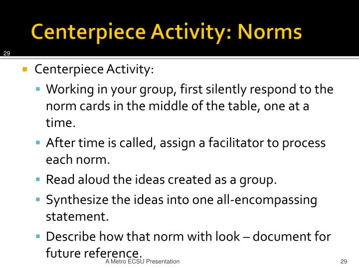 Centerpiece Activity: Norms