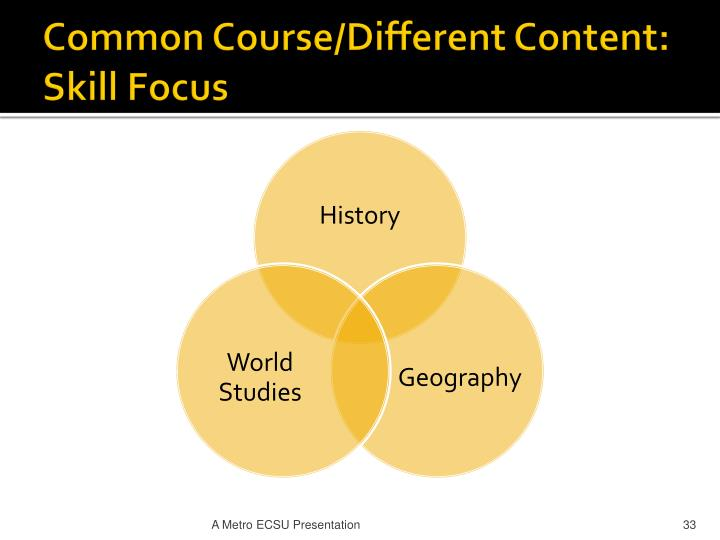 Common Course/Different Content: Skill Focus