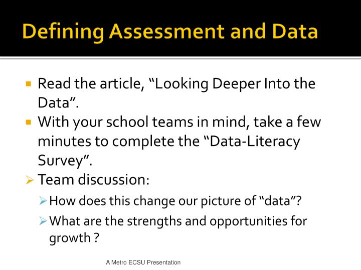 Defining Assessment and Data