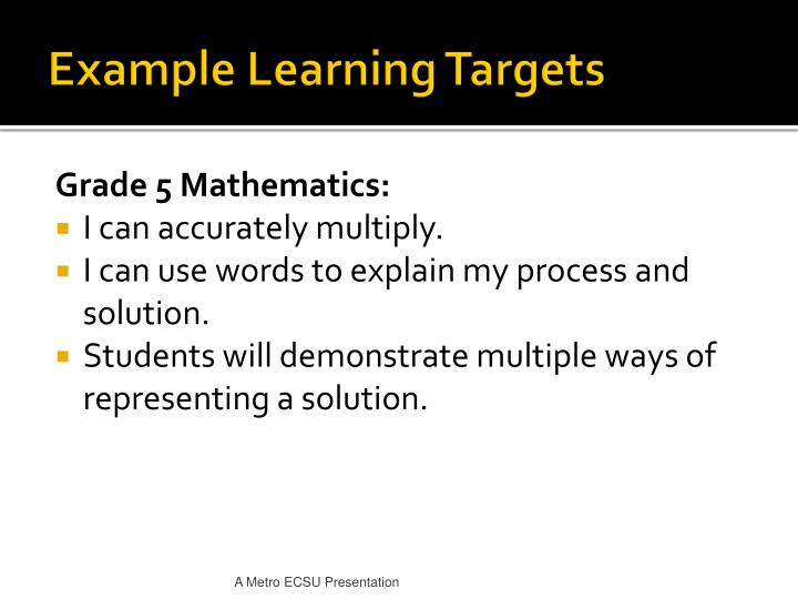 Example Learning Targets