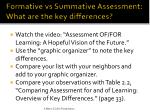 formative vs summative assessment what are the key differences