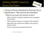setting smart goals to focus the team