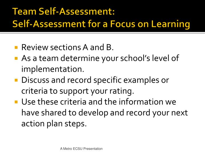 Team Self-Assessment: