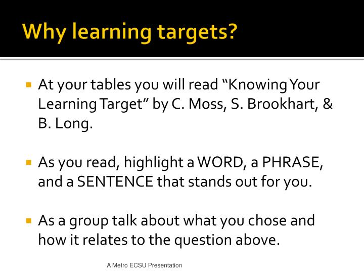 Why learning targets?