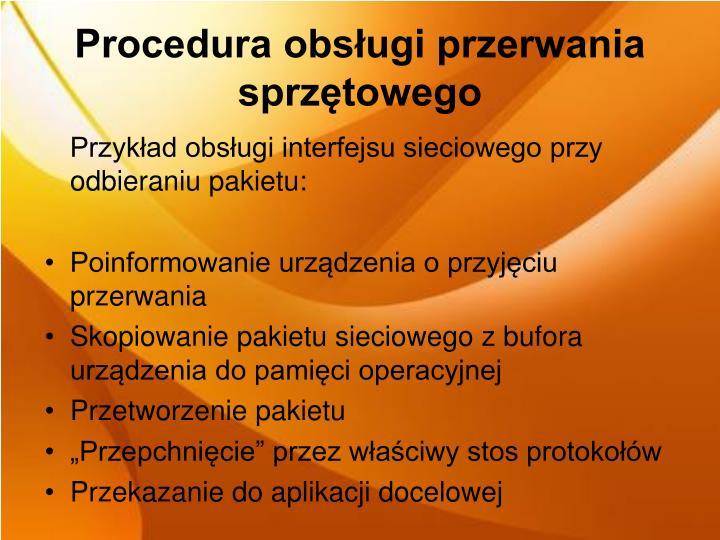 Procedura obsługi przerwania sprzętowego