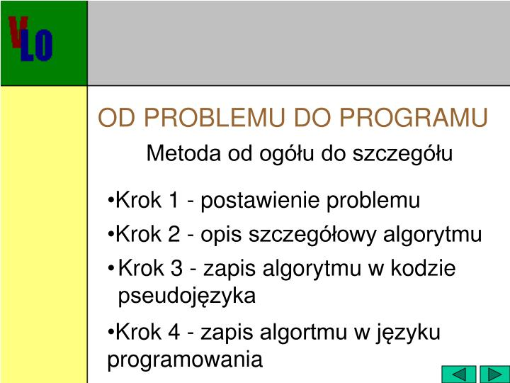 OD PROBLEMU DO PROGRAMU