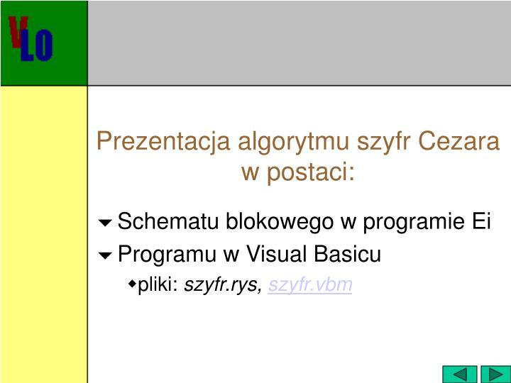 Prezentacja algorytmu szyfr Cezara w postaci: