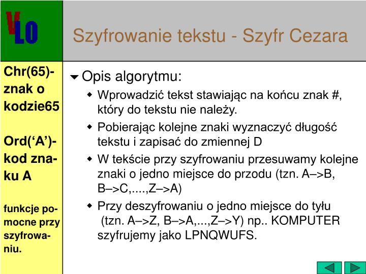 Szyfrowanie tekstu - Szyfr Cezara