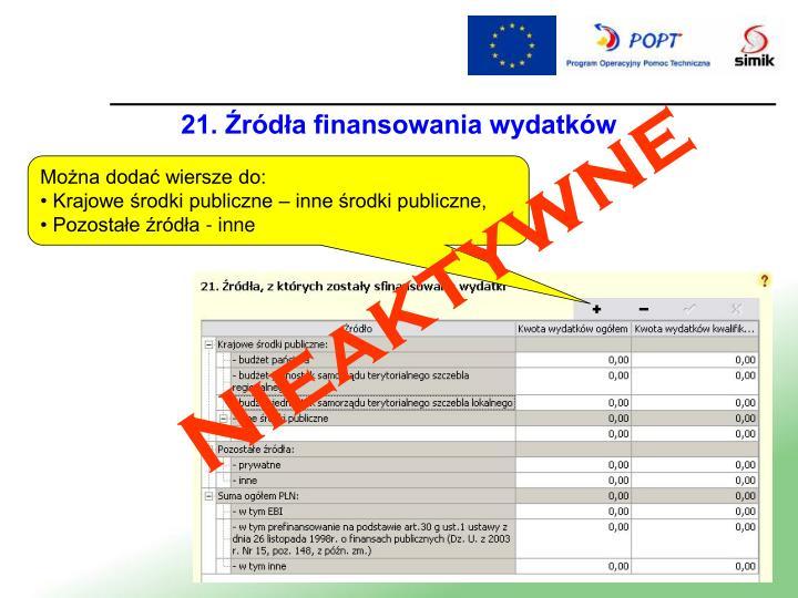 21. Źródła finansowania wydatków