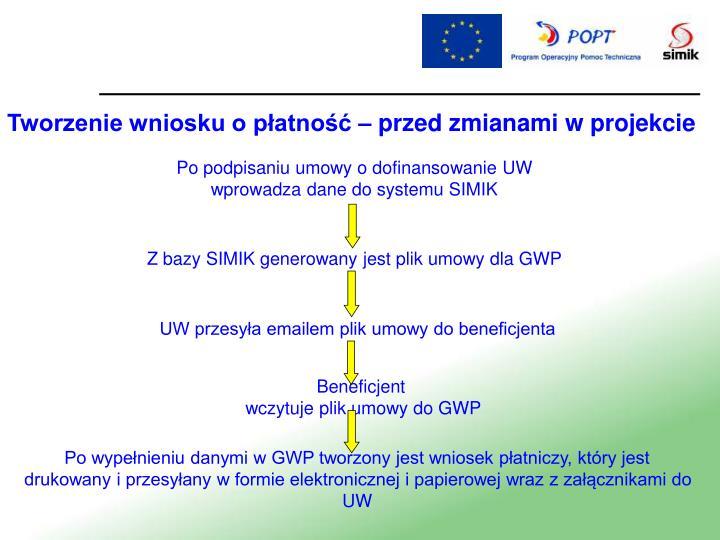 Tworzenie wniosku o płatność – przed zmianami w projekcie
