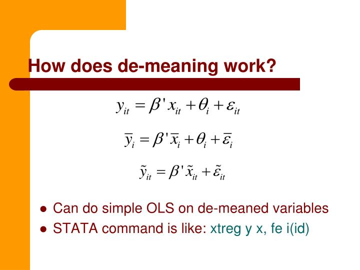 How does de-meaning work?