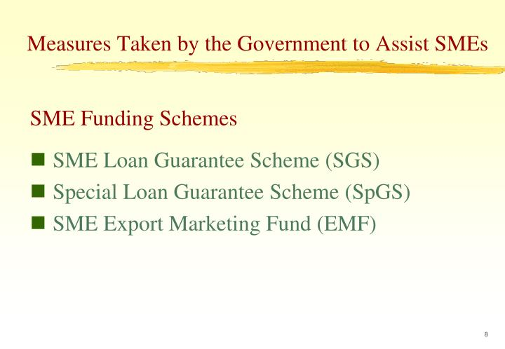 Measures Taken by the Government to Assist SMEs