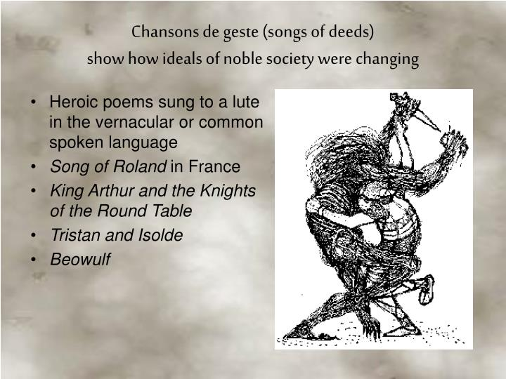 Heroic poems sung to a lute in the vernacular or common spoken language
