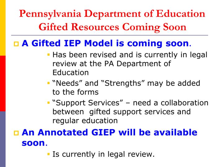 Pennsylvania department of education gifted resources coming soon