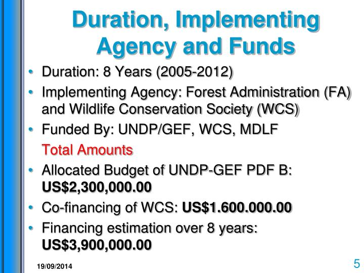 Duration, Implementing Agency and Funds