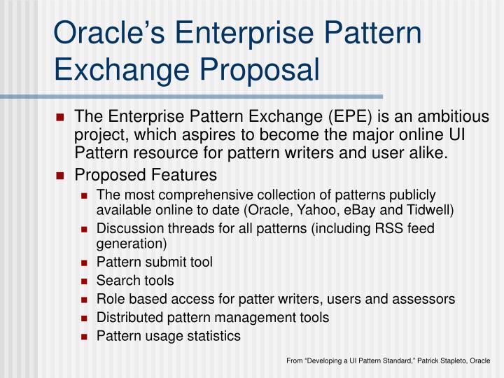 Oracle's Enterprise Pattern Exchange Proposal