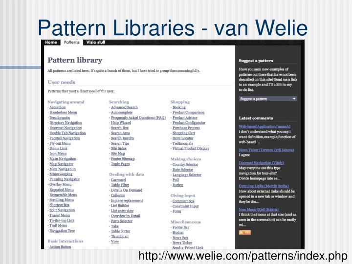 Pattern Libraries - van Welie