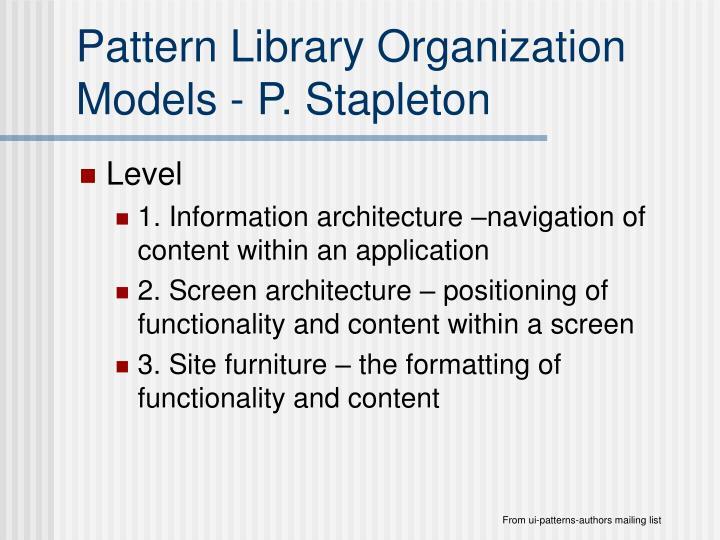 Pattern Library Organization Models - P. Stapleton