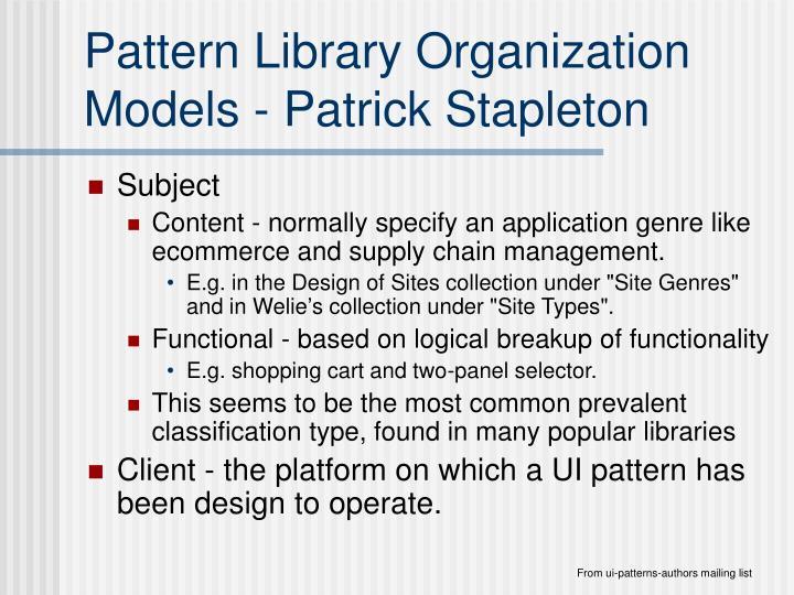 Pattern Library Organization Models - Patrick Stapleton