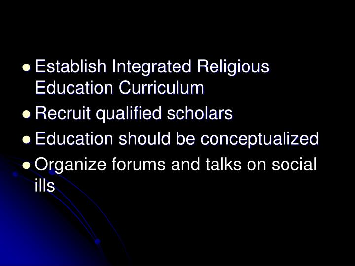Establish Integrated Religious Education Curriculum