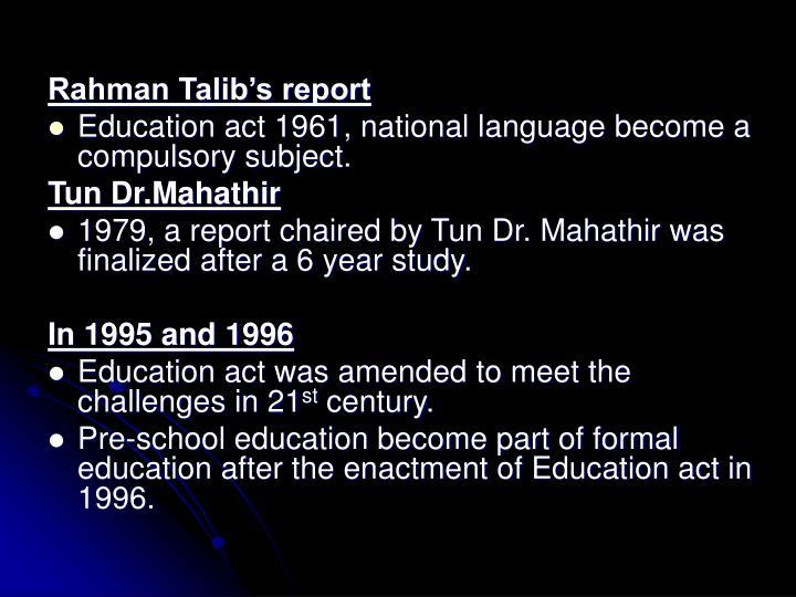 Rahman Talib's report