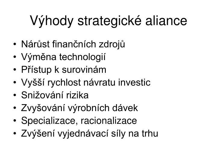 Výhody strategické aliance
