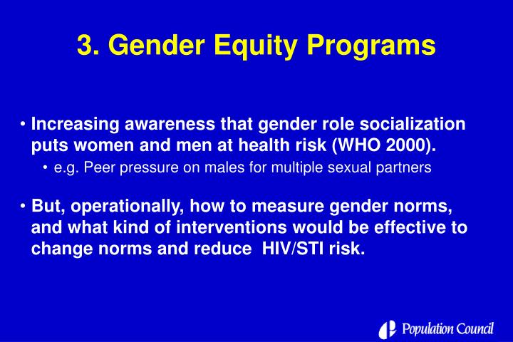 3. Gender Equity Programs