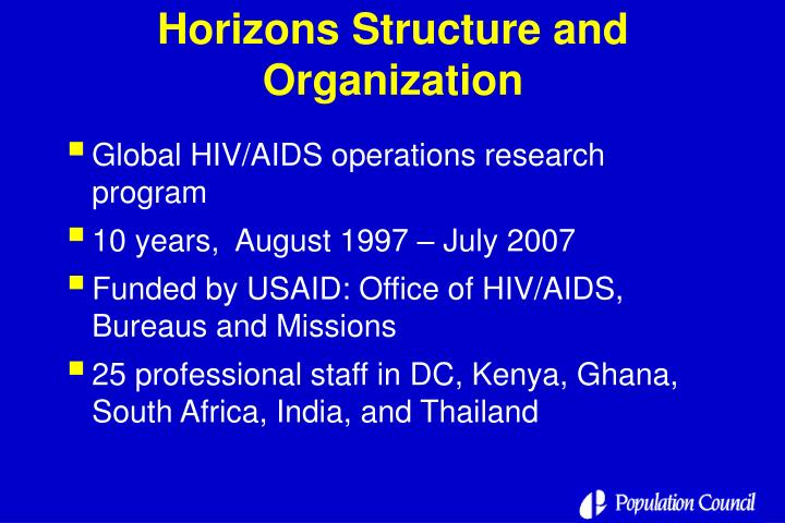 Horizons structure and organization