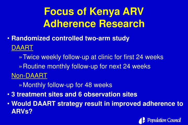 Focus of Kenya ARV