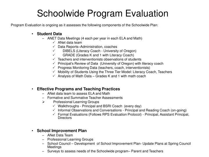 Schoolwide Program Evaluation