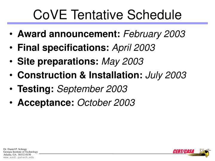 CoVE Tentative Schedule